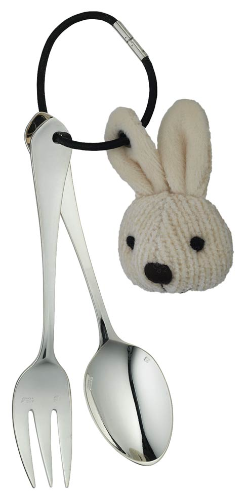 $270.00 Baby Flatware 2 Pieces With Rabbit, in a Giftbox Silver - Plated