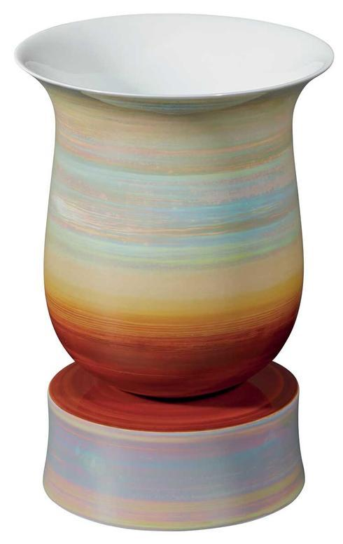 $985.00 White and Red Footed Vase
