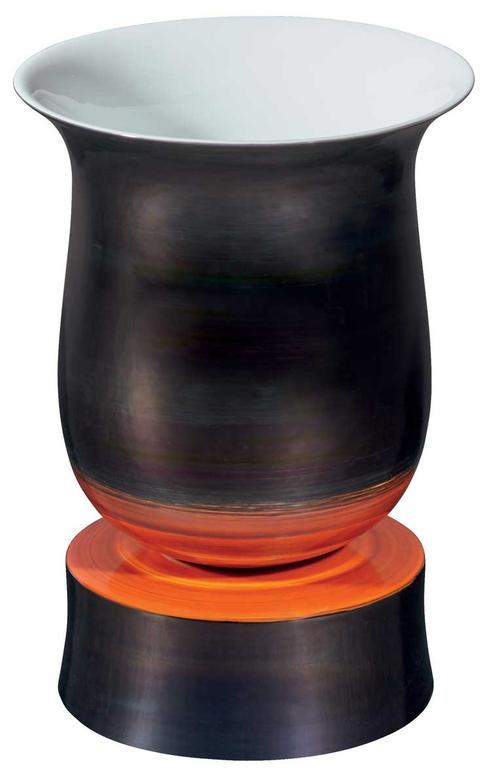 $985.00 Black and Red Footed Vase