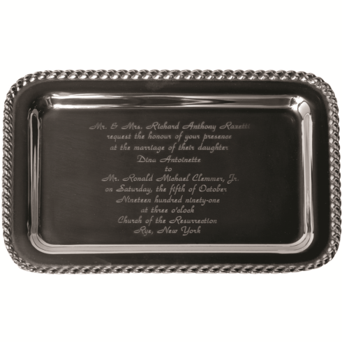 Salisbury  Masthead Masthead Small Rect. Tray w/Wedding Invitation $74.00