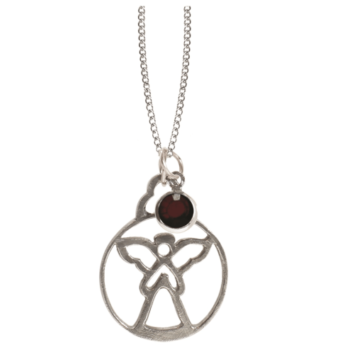 $18.50 Birthstone Angel Pendant - January