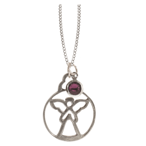 $18.50 Birthstone Angel Pendant - February