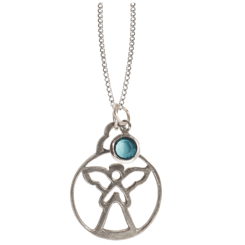 $18.50 Birthstone Angel Pendant - March