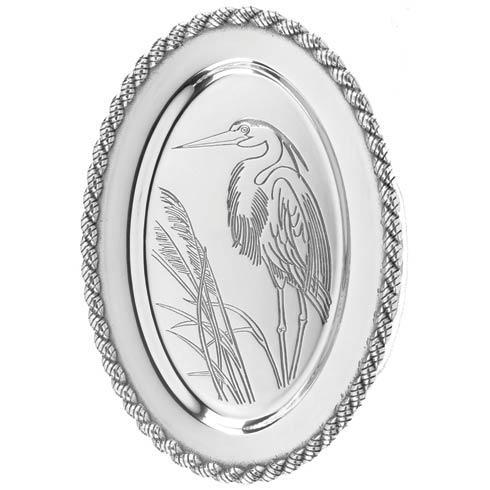 "$68.00 Latitudes Medium Oval Heron Tray, 14"" x 10 ¾"""