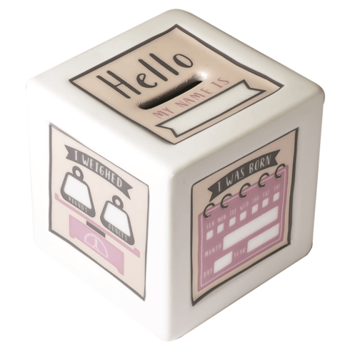$38.00 Pink Birth Record Bank with Pen