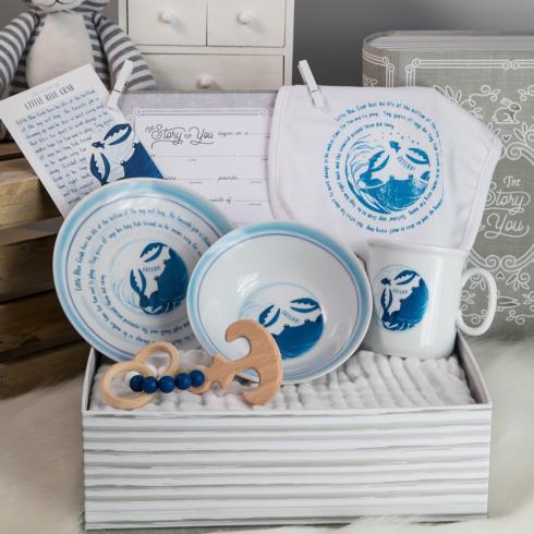 $103.00 Little Blue Crab Cup, Plate, Bowl, Bib, & Teether Set