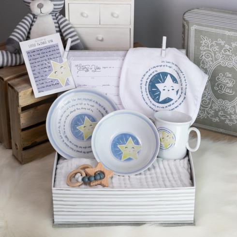 $103.00 Little Twinkle Star Cup, Plate, Bowl, Bib, & Teether Set