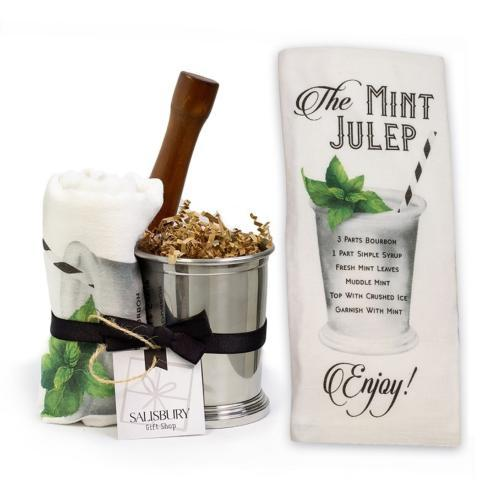 $50.00 Stainless Steel Julep Cup, Towel, & Muddler Gift Set