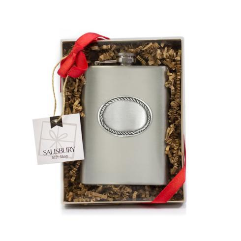 $24.00 Stainless Steel Rope Edge Flask
