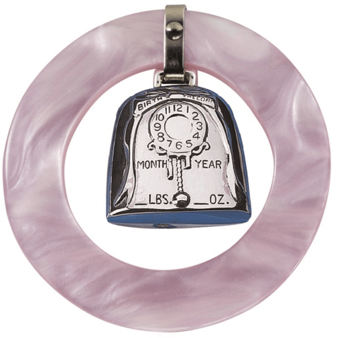 Pink Birth Record Teething Ring Rattle