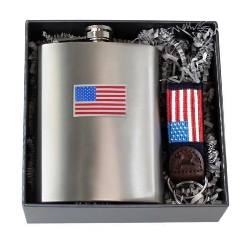 $50.00 Flag Stainless Steel Flask & Flag Key Fob