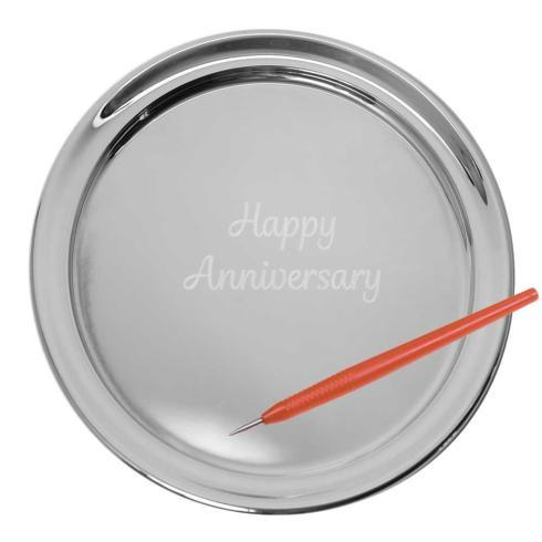 "$160.00 11"" Gallery Tray & Engraving Pen - Happy Anniversary"