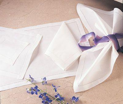 $8.00 Hemstitched White Dinner Napkin 20""