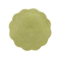$28.00 Deborah Rhodes Round Scallop Placemat Moss Canary