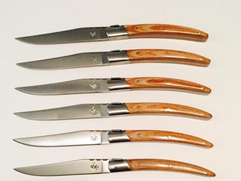 $125.00 Arceau-LAGUIOLE SET OF 6 STEAK KNIVES WITH MAPLE WOOD HANDLE