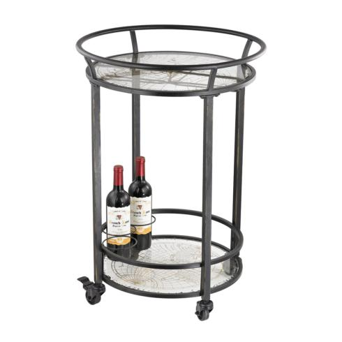 Schiffman's Exclusives   Oxidized Gold Map Bar Cart $295.00