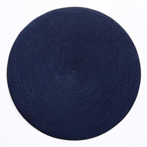 "$28.00 16"" Round Scallop Placemat Navy"