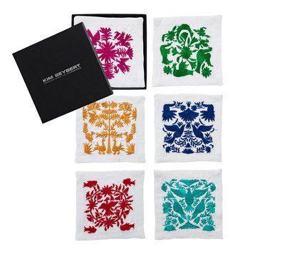 $63.00 Kim Seybert Otomi Set of 6 Linen Cocktail Napkins Assorted Colors