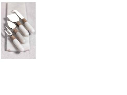 $45.00 White Marble and Wood Cheese Tool Set