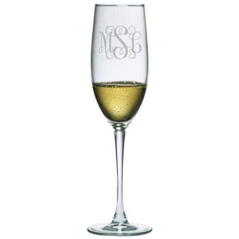$59.99 Monogrammed Set Of 2 Connoisseur Champagne Flutes With 3 Initals Interlocking Vine