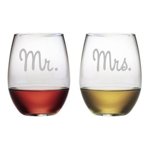 "$30.00 Set Of 2 Monogrammed ""Mr & Mrs"" Stemless Wine Glasses"