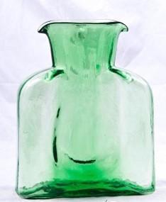 """$69.00 Blenko Straight Optic Water Bottle Spring Green  8"""" Tall  36Oz"""