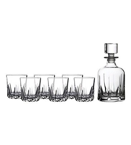 Schiffman's Exclusives   Mode whiskey decanter and six tumbler set $100.00