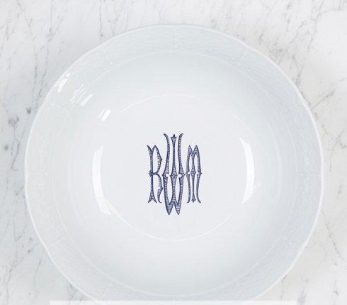 "$120.00 Weave White 9.5"" Medium Serving Bowl With Monogram"
