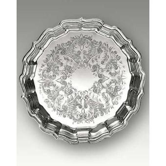 """Chippendale 12.5"""" Silverplate Tray Decorated Center"""