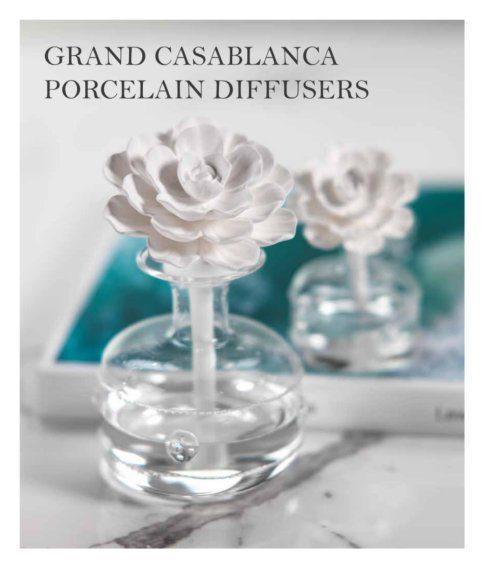 $49.00 MINI GRAND CASABLANCA PORCELAIN DIFFUSER WHITE HIBISCUS