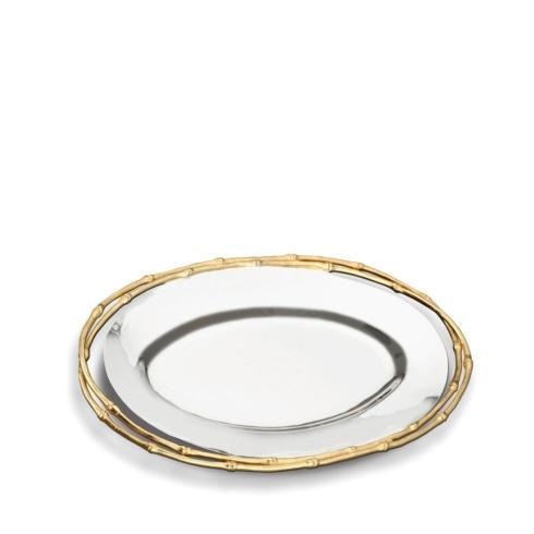 $395.00 Evoca Nickelplate Medium Oval Platter W/ 24Kg Bamboo Trim