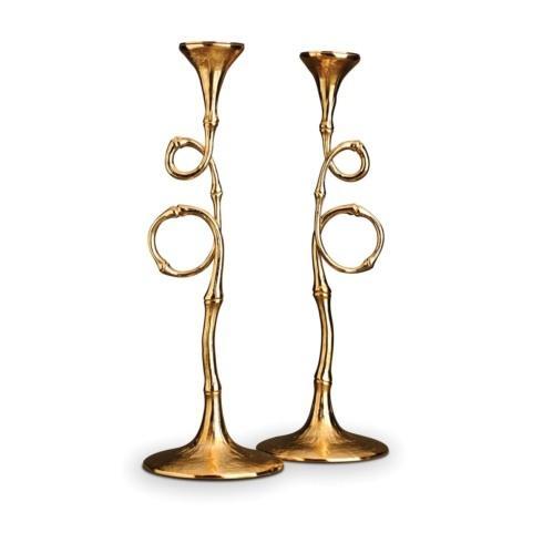 $475.00 Evoca 24Kt Gold Plated Pair Of Candlesticks