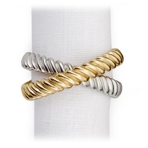 $150.00 SET/4 L\'Objet 24K Gold Plated Two Tone Deco Twist Napkin Rings