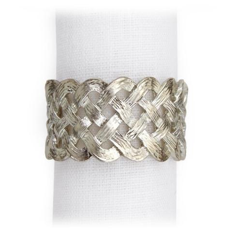 $150.00 Set of Four Platinum Braid Napkin Rings