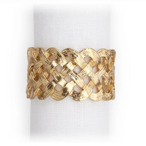 $150.00 Set of Four Gold Plated Braid Napkin Rings