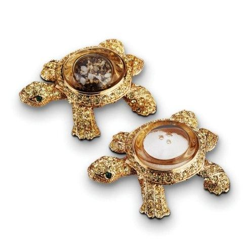 $147.00 Gold Plated Turtle Salt/Pepper Jewels Set
