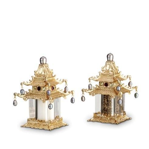 $250.00 Pagoda Gold Salt & Pepper Shakers