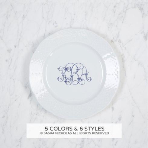 $59.00 Sasha Nicholas Weave White Salad Plate with Gold Monogram