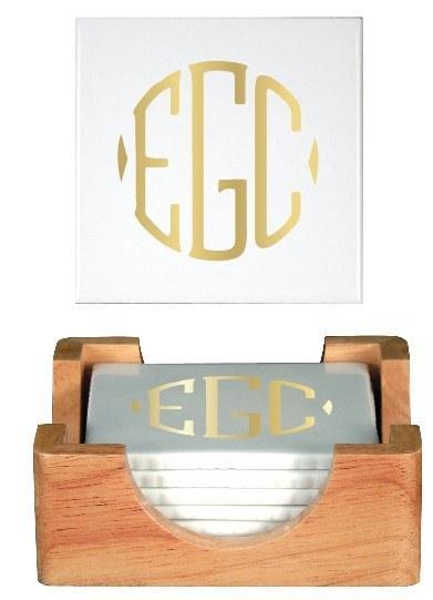 $99.00 Pickard set of 6 Monogrammed Coasters