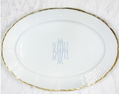 $215.00 Weave White Gold Rimmed with Monogram Oval Platter