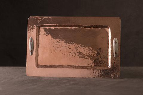 $1,380.00 Copper Rectangular Tray with Antler Handles