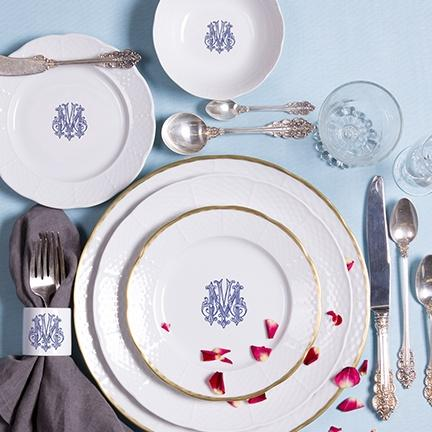 Sasha Nicholas  Weave Dinnerware Rim Soup Bowl w/Monogram Colors: Lt Blue, Navy Blue, Green, Black $54.00