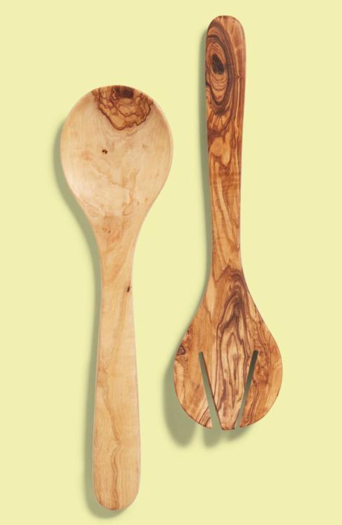 Olive Wood Round Salad Server Set collection with 1 products