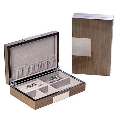 "$110.00 Lacquered ""Ash"" Wood Valet Box with Stainless Steel Accents and Multi Compartments Storage."