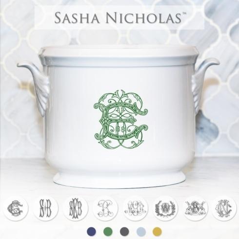 Sasha Nicholas    Champagne Bucket Monogram (green, lt blue, navy blue, black) $185.00