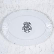Sasha Nicholas  Weave Serving Pieces Weave Oval Platter w/Monogram Colors: Lt Blue, Navy Blue, Green, Black $176.00