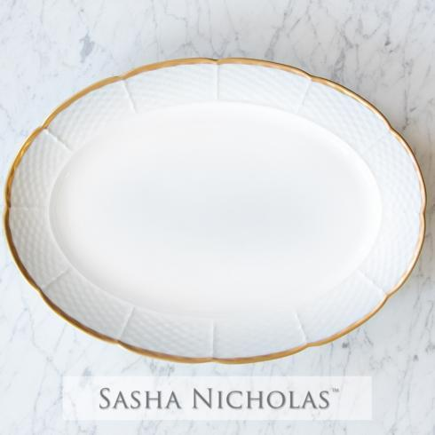 $122.00 Weave 24K Gold Oval Platter with No Monogram