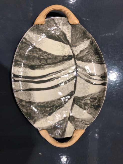 $96.00 Small Oval Tray w/Handle Zebra Charcole