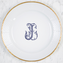 $98.00 Weave Gold Rimmed Charger w/Monogram