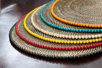 Calaisio   Round Placemat w/Beads-White $36.00